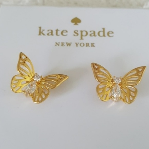 763122482 kate spade Jewelry | Nwt 12k Gold Social Butterfly Earrings | Poshmark